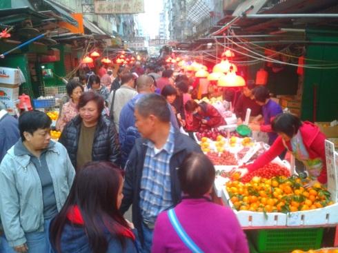 a street market in Hong Kong